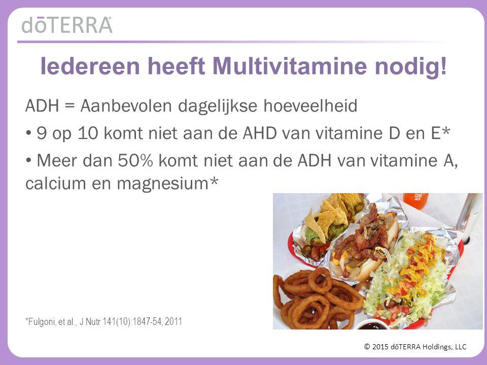 © 2015 dōTERRA Holdings, LLC Iedereen heeft Multivitamine nodig! ADH = Aanbevolen dagelijkse hoeveelheid 9 op 10 komt niet aan de AHD van vitamine D e