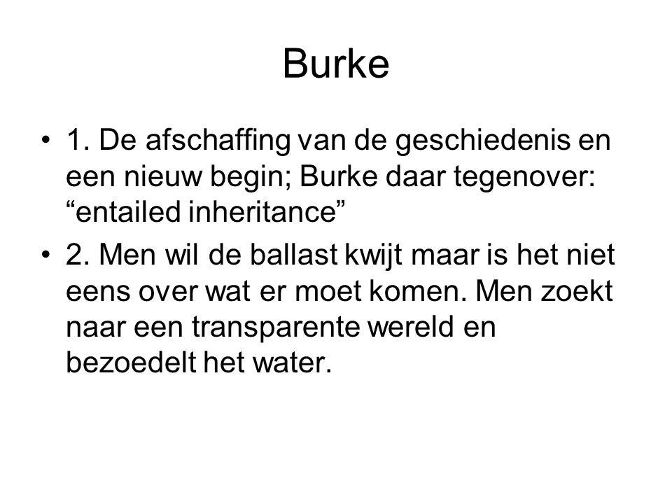 """Burke 1. De afschaffing van de geschiedenis en een nieuw begin; Burke daar tegenover: """"entailed inheritance"""" 2. Men wil de ballast kwijt maar is het n"""