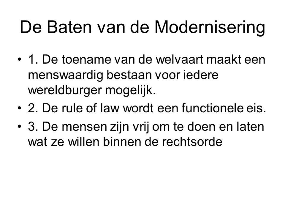 De Baten van de Modernisering 1. De toename van de welvaart maakt een menswaardig bestaan voor iedere wereldburger mogelijk. 2. De rule of law wordt e