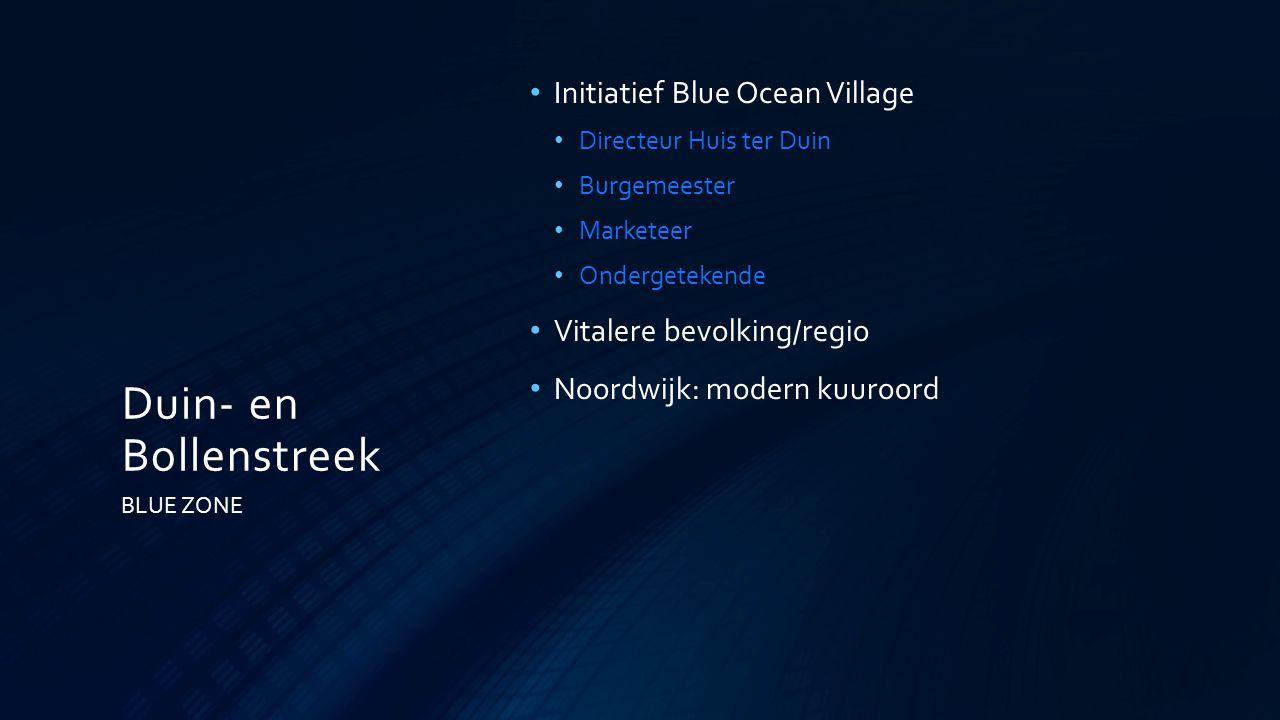 Duin- en Bollenstreek Initiatief Blue Ocean Village Directeur Huis ter Duin Burgemeester Marketeer Ondergetekende Vitalere bevolking/regio Noordwijk:
