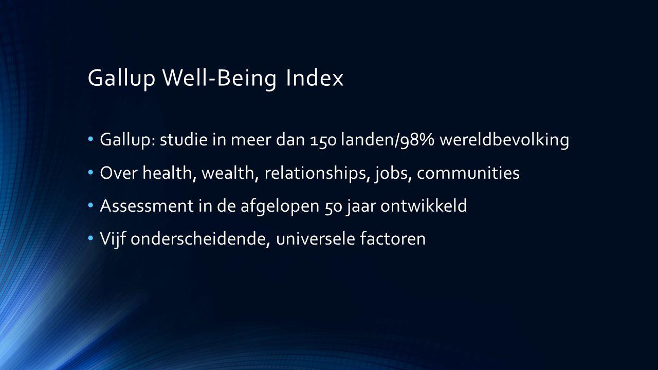 Gallup Well-Being Index Gallup: studie in meer dan 150 landen/98% wereldbevolking Over health, wealth, relationships, jobs, communities Assessment in