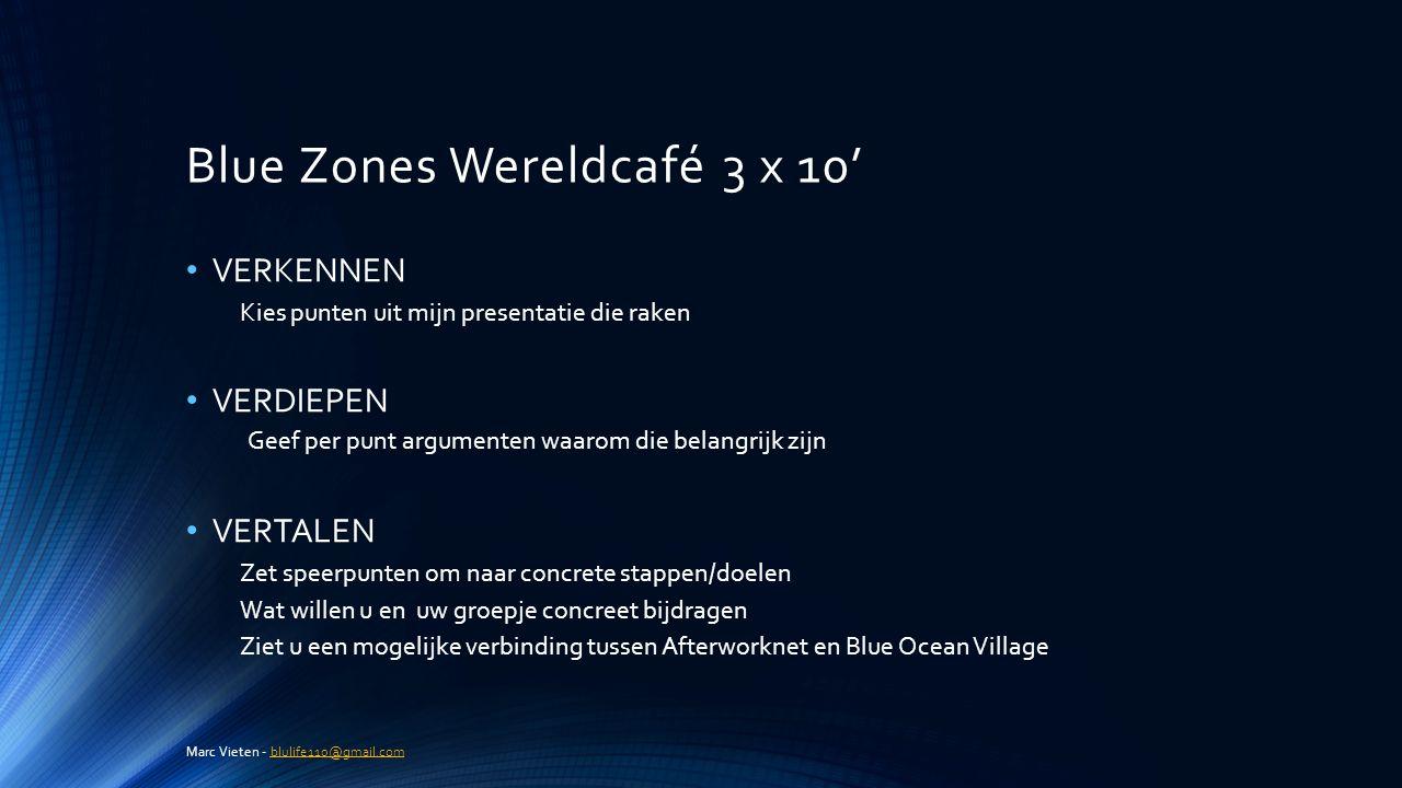 Blue Zones Wereldcafé 3 x 10' VERKENNEN Kies punten uit mijn presentatie die raken VERDIEPEN Geef per punt argumenten waarom die belangrijk zijn VERTA