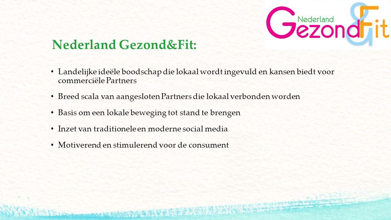 Nederland Gezond&Fit: Landelijke ideële boodschap die lokaal wordt ingevuld en kansen biedt voor commerciële Partners Breed scala van aangesloten Part