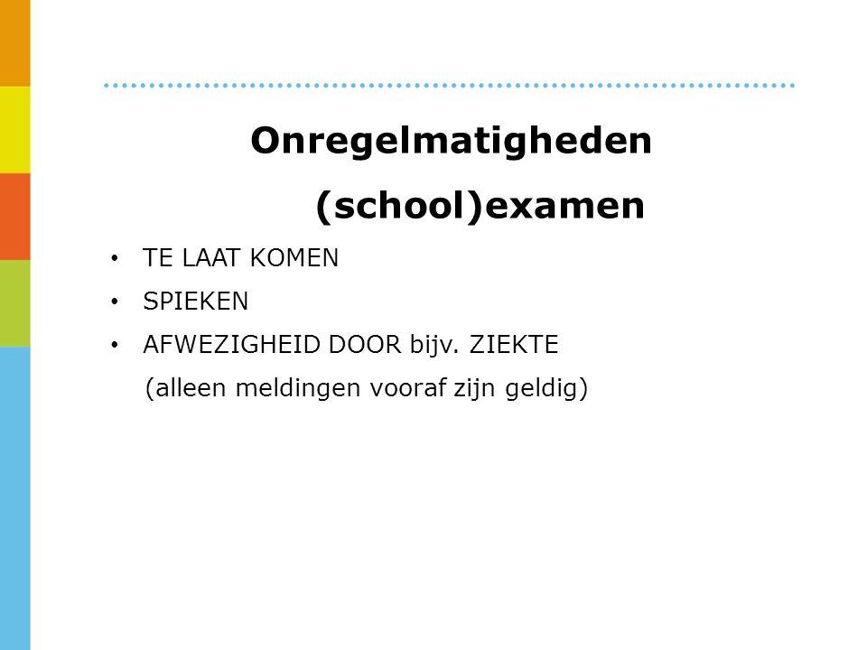 Onregelmatigheden (school)examen TE LAAT KOMEN SPIEKEN AFWEZIGHEID DOOR bijv.
