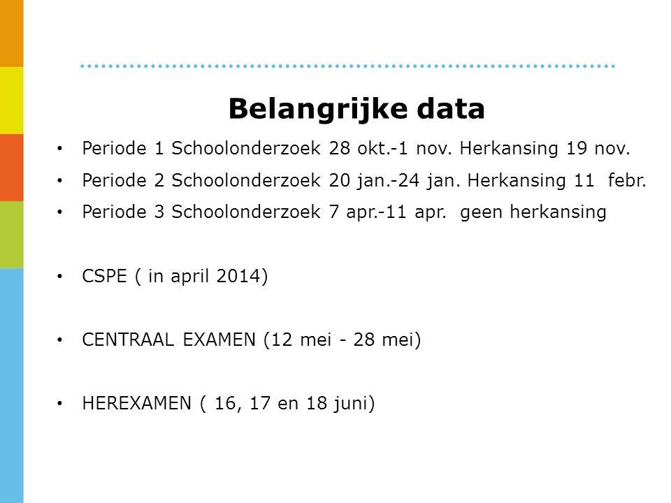 Belangrijke data Periode 1 Schoolonderzoek 28 okt.-1 nov.