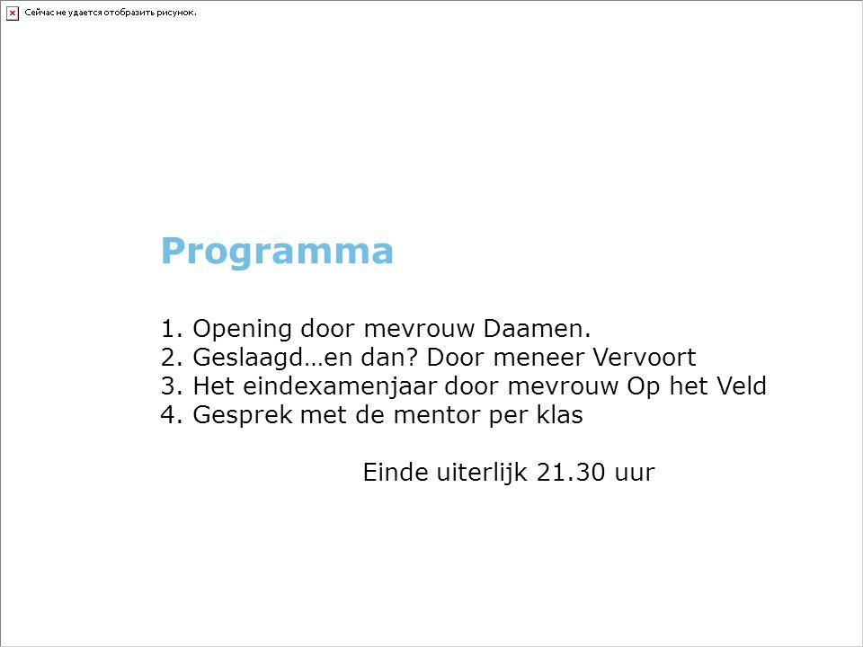 Programma 1. Opening door mevrouw Daamen. 2. Geslaagd…en dan.