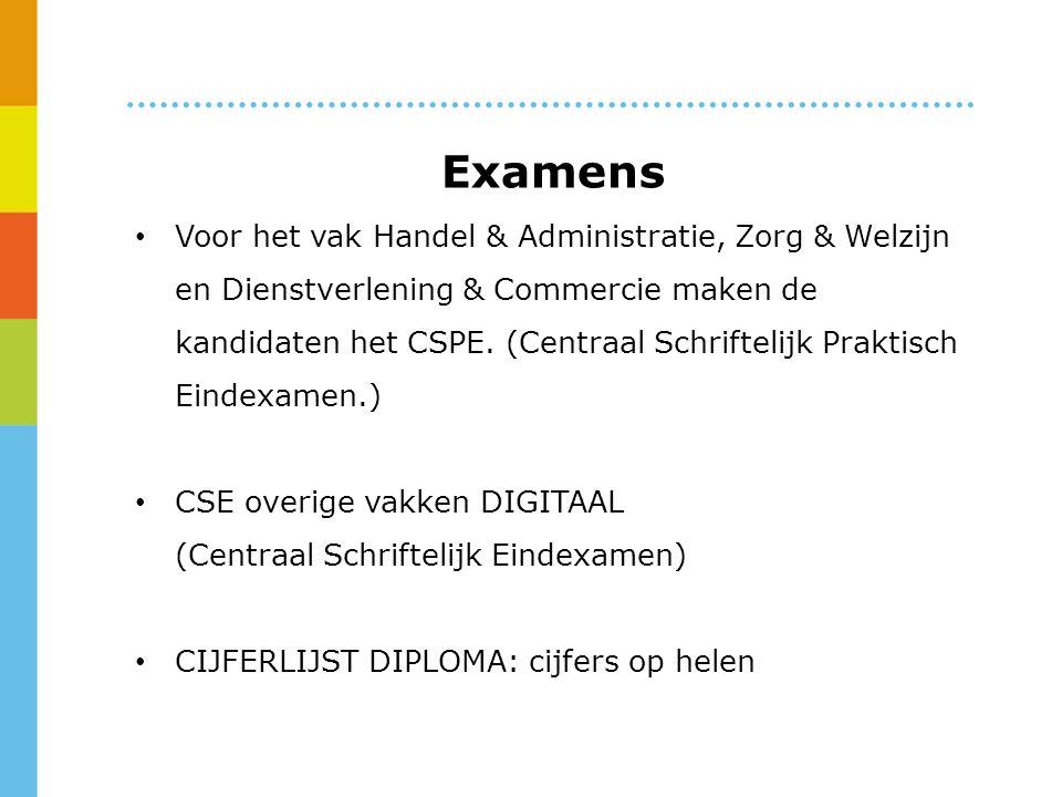 Examens Voor het vak Handel & Administratie, Zorg & Welzijn en Dienstverlening & Commercie maken de kandidaten het CSPE.