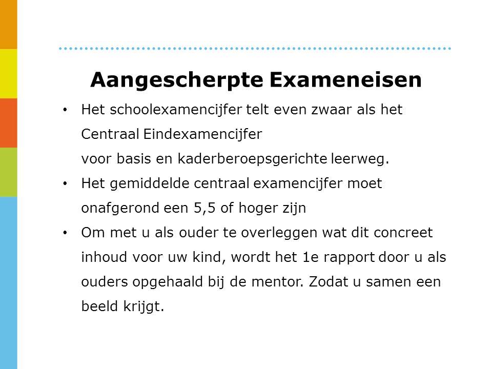Aangescherpte Exameneisen Het schoolexamencijfer telt even zwaar als het Centraal Eindexamencijfer voor basis en kaderberoepsgerichte leerweg.