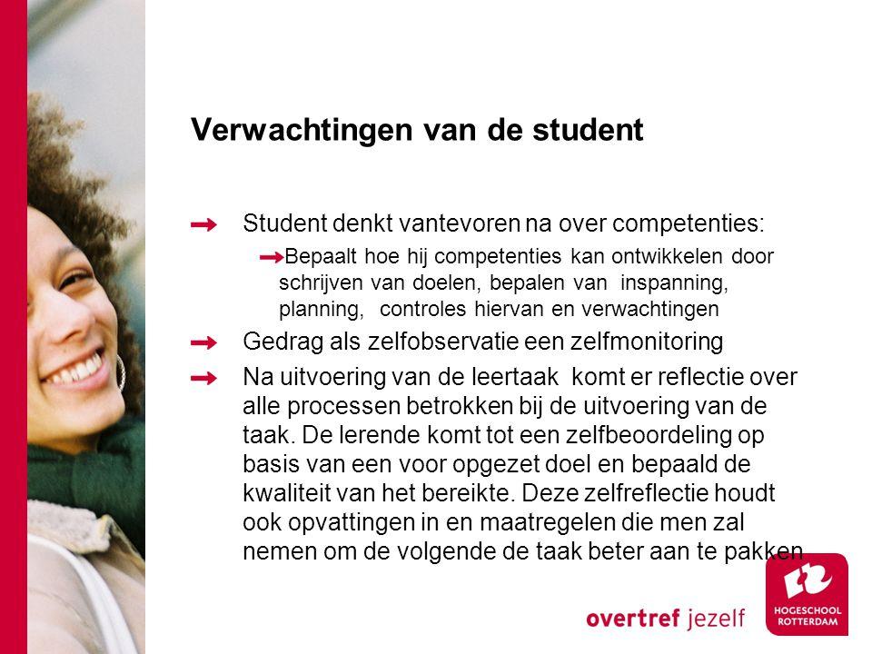 Verwachtingen van de student Student denkt vantevoren na over competenties: Bepaalt hoe hij competenties kan ontwikkelen door schrijven van doelen, be