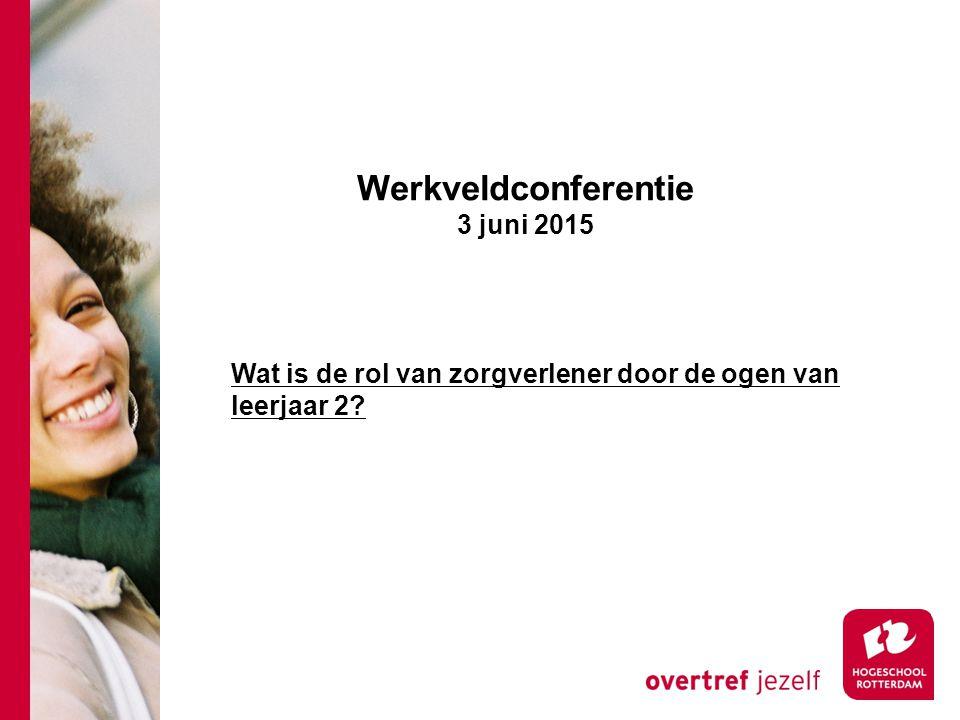 Werkveldconferentie 3 juni 2015 Wat is de rol van zorgverlener door de ogen van leerjaar 2