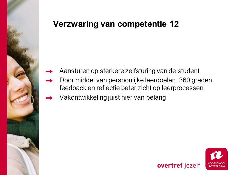Verzwaring van competentie 12 Aansturen op sterkere zelfsturing van de student Door middel van persoonlijke leerdoelen, 360 graden feedback en reflectie beter zicht op leerprocessen Vakontwikkeling juist hier van belang