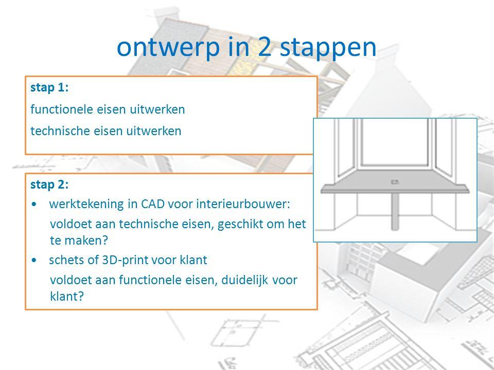 ontwerp in 2 stappen stap 1: functionele eisen uitwerken technische eisen uitwerken stap 2: werktekening in CAD voor interieurbouwer: voldoet aan technische eisen, geschikt om het te maken.