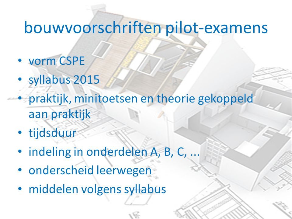 bouwvoorschriften pilot-examens vorm CSPE syllabus 2015 praktijk, minitoetsen en theorie gekoppeld aan praktijk tijdsduur indeling in onderdelen A, B, C,...