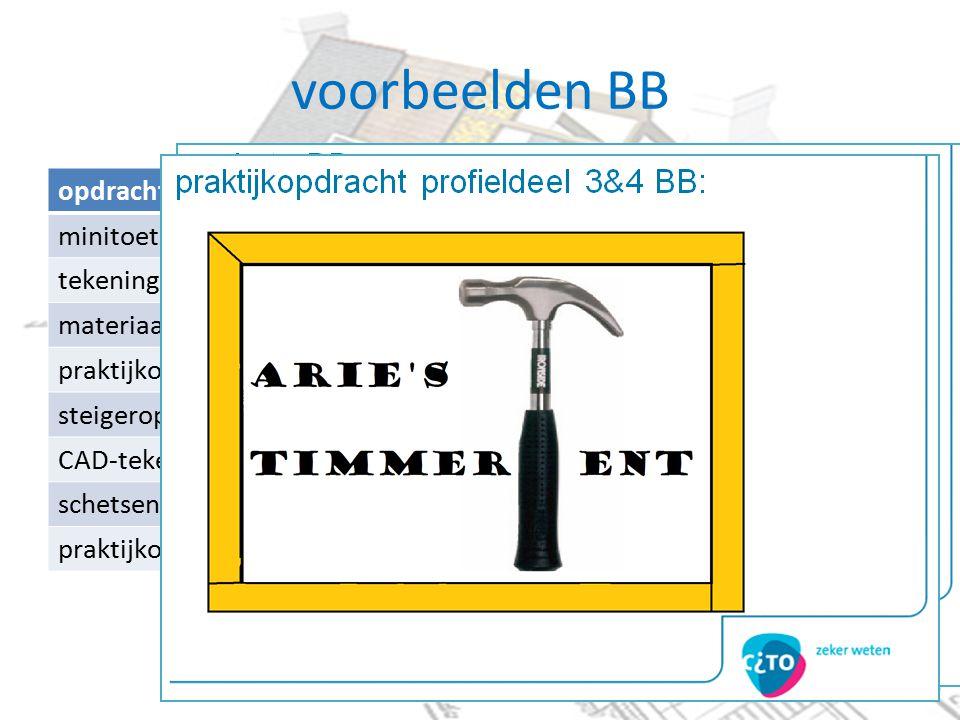 voorbeelden BB opdrachten BB minitoetsen tekeninglezen materiaalstaat praktijkopdracht profieldeel 1&2 steigeropdracht CAD-tekenen schetsen praktijkopdracht profieldeel 3&4
