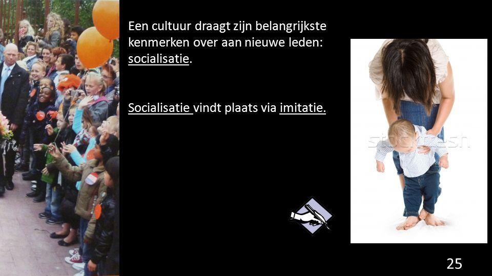 Een cultuur draagt zijn belangrijkste kenmerken over aan nieuwe leden: socialisatie. Socialisatie vindt plaats via imitatie. 25