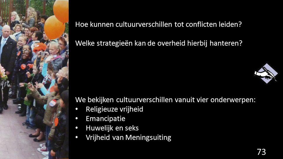 73 Hoe kunnen cultuurverschillen tot conflicten leiden? Welke strategieën kan de overheid hierbij hanteren? We bekijken cultuurverschillen vanuit vier