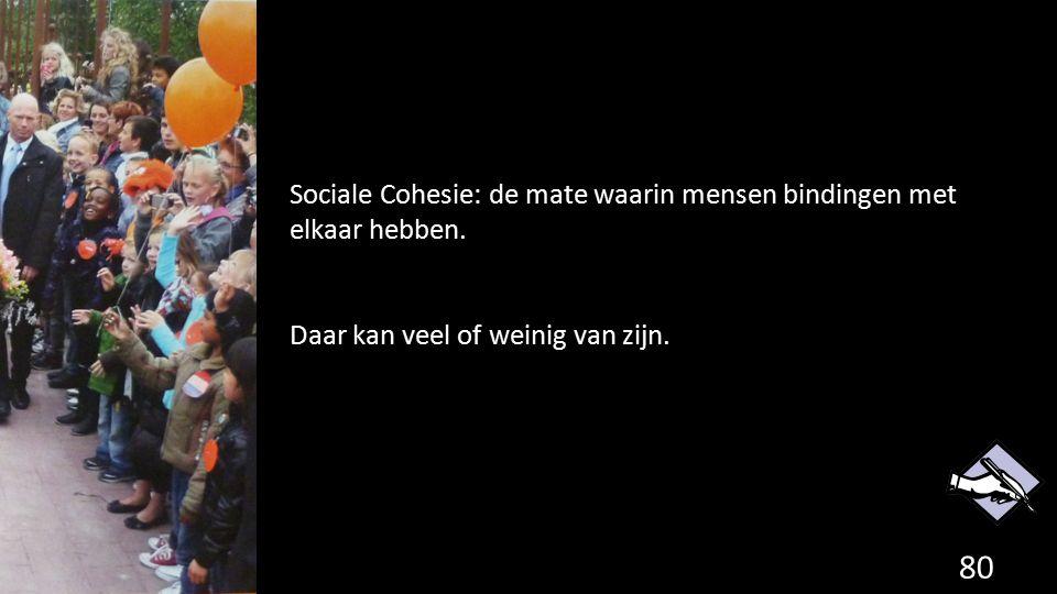 80 Sociale Cohesie: de mate waarin mensen bindingen met elkaar hebben. Daar kan veel of weinig van zijn.