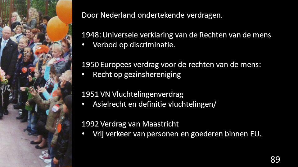 89 Door Nederland ondertekende verdragen. 1948: Universele verklaring van de Rechten van de mens Verbod op discriminatie. 1950 Europees verdrag voor d