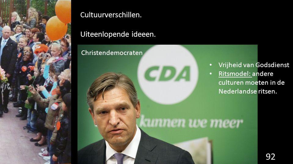 92 Cultuurverschillen. Uiteenlopende ideeen. Vrijheid van Godsdienst Ritsmodel: andere culturen moeten in de Nederlandse ritsen. Christendemocraten
