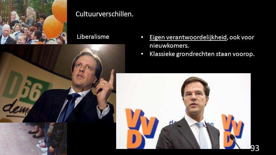93 Cultuurverschillen. Eigen verantwoordelijkheid, ook voor nieuwkomers. Klassieke grondrechten staan voorop. Liberalisme