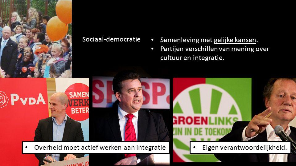 95 Samenleving met gelijke kansen. Partijen verschillen van mening over cultuur en integratie. Sociaal-democratie Overheid moet actief werken aan inte