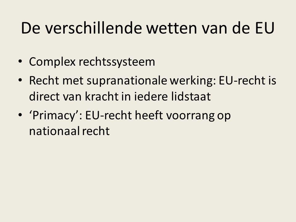 De verschillende wetten van de EU Complex rechtssysteem Recht met supranationale werking: EU-recht is direct van kracht in iedere lidstaat 'Primacy': EU-recht heeft voorrang op nationaal recht