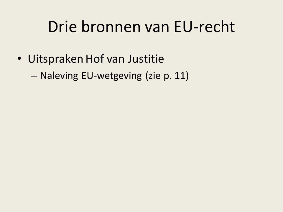 Drie bronnen van EU-recht Uitspraken Hof van Justitie – Naleving EU-wetgeving (zie p. 11)