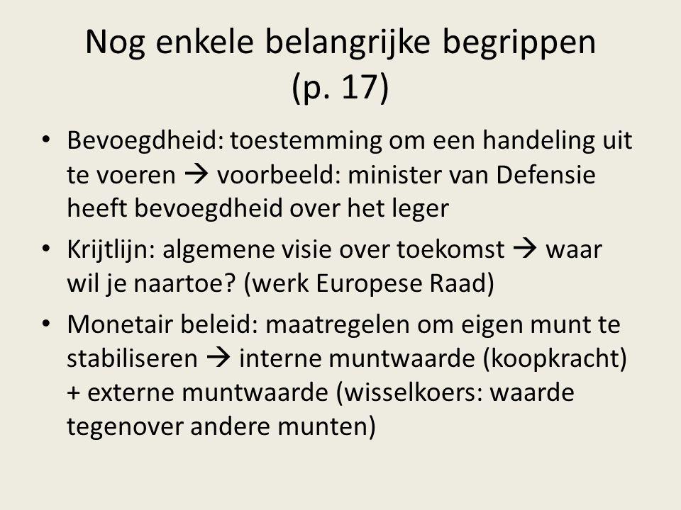 Nog enkele belangrijke begrippen (p. 17) Bevoegdheid: toestemming om een handeling uit te voeren  voorbeeld: minister van Defensie heeft bevoegdheid