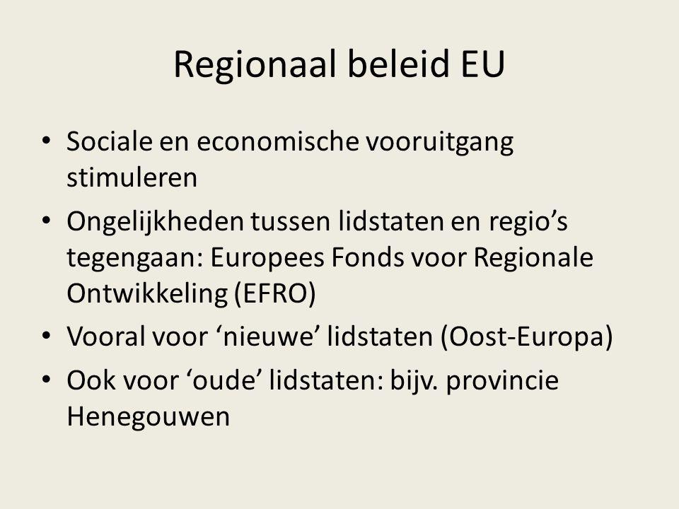 Regionaal beleid EU Sociale en economische vooruitgang stimuleren Ongelijkheden tussen lidstaten en regio's tegengaan: Europees Fonds voor Regionale O