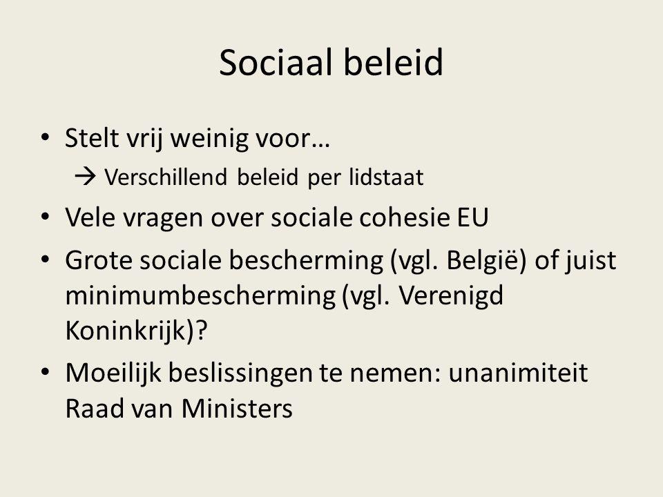 Sociaal beleid Stelt vrij weinig voor…  Verschillend beleid per lidstaat Vele vragen over sociale cohesie EU Grote sociale bescherming (vgl.