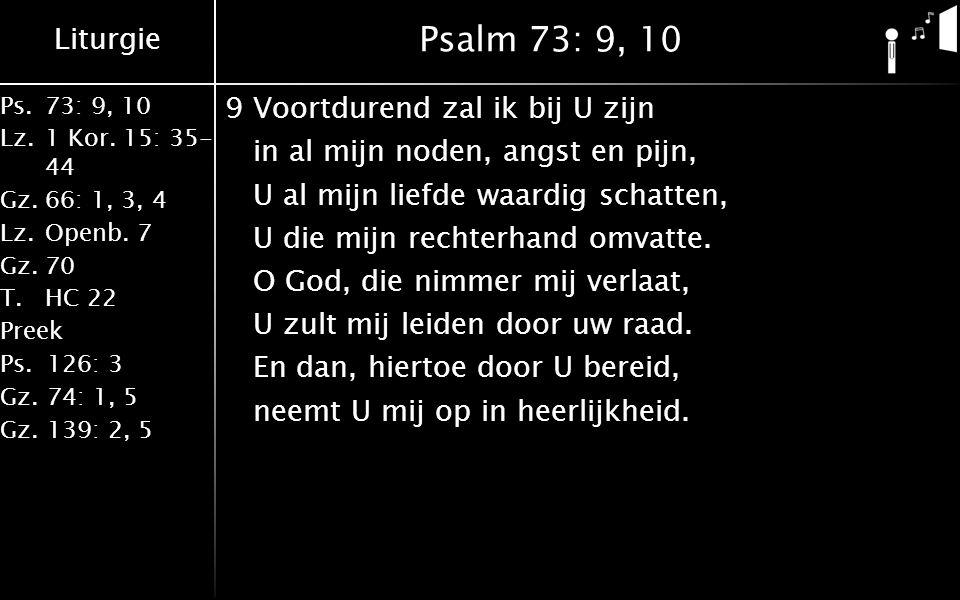 Liturgie Ps.73: 9, 10 Lz.1 Kor. 15: 35- 44 Gz.66: 1, 3, 4 Lz.Openb. 7 Gz.70 T.HC 22 Preek Ps.126: 3 Gz.74: 1, 5 Gz.139: 2, 5 Psalm 73: 9, 10 9Voortdur