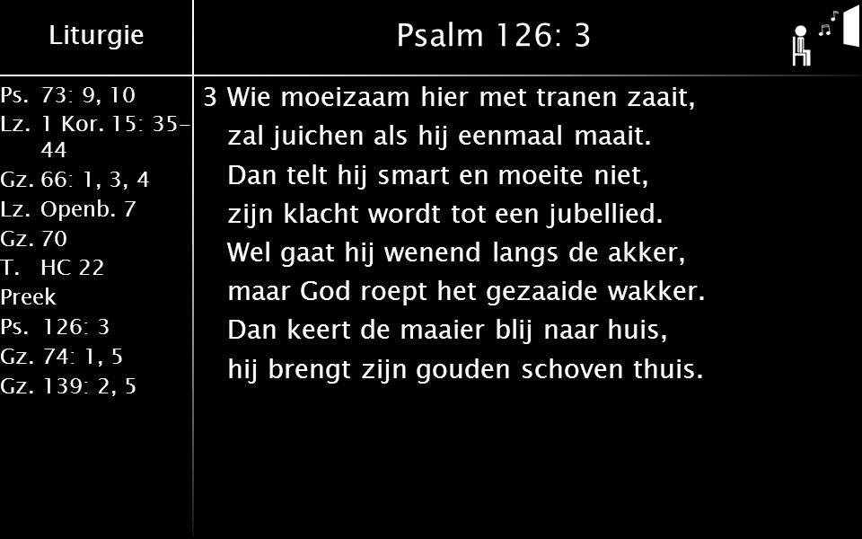 Liturgie Ps.73: 9, 10 Lz.1 Kor. 15: 35- 44 Gz.66: 1, 3, 4 Lz.Openb. 7 Gz.70 T.HC 22 Preek Ps.126: 3 Gz.74: 1, 5 Gz.139: 2, 5 Psalm 126: 3 3Wie moeizaa