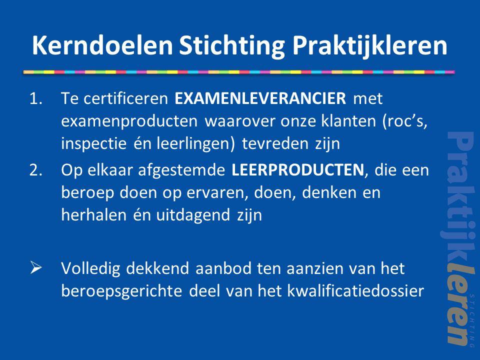 Kerndoelen Stichting Praktijkleren 1.Te certificeren EXAMENLEVERANCIER met examenproducten waarover onze klanten (roc's, inspectie én leerlingen) tevr