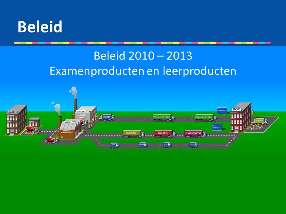 Beleid 2010 – 2013 Examenproducten en leerproducten Beleid
