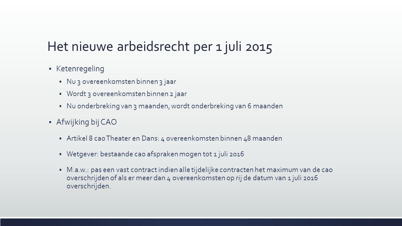 Het nieuwe arbeidsrecht per 1 juli 2015  Ketenregeling  Nu 3 overeenkomsten binnen 3 jaar  Wordt 3 overeenkomsten binnen 2 jaar  Nu onderbreking v