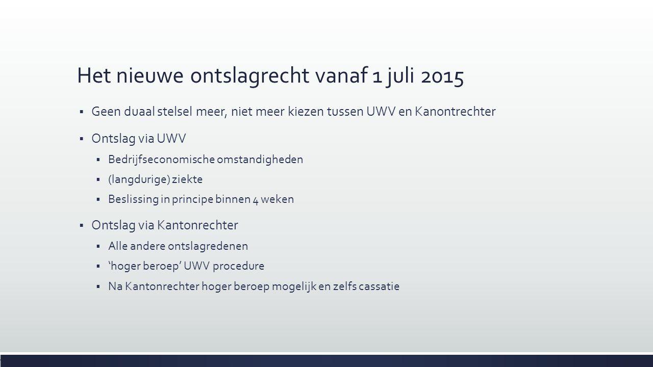 Het nieuwe ontslagrecht vanaf 1 juli 2015  Geen duaal stelsel meer, niet meer kiezen tussen UWV en Kanontrechter  Ontslag via UWV  Bedrijfseconomis
