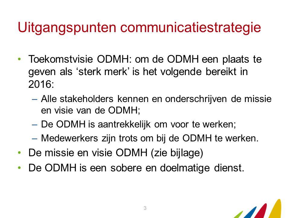 Uitgangspunten communicatiestrategie Toekomstvisie ODMH: om de ODMH een plaats te geven als 'sterk merk' is het volgende bereikt in 2016: –Alle stakeholders kennen en onderschrijven de missie en visie van de ODMH; –De ODMH is aantrekkelijk om voor te werken; –Medewerkers zijn trots om bij de ODMH te werken.