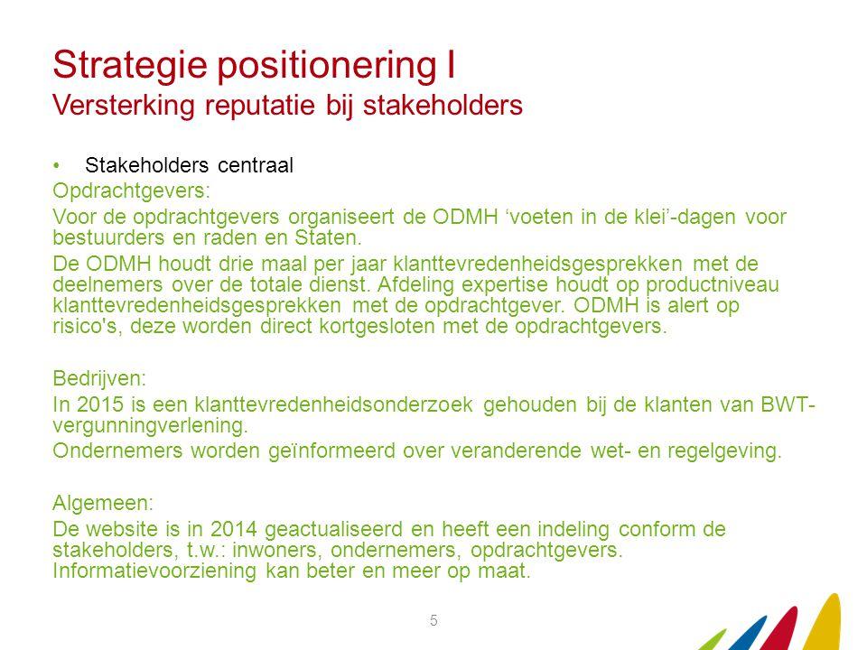 Strategie positionering I Versterking reputatie bij stakeholders Stakeholders centraal Opdrachtgevers: Voor de opdrachtgevers organiseert de ODMH 'voeten in de klei'-dagen voor bestuurders en raden en Staten.