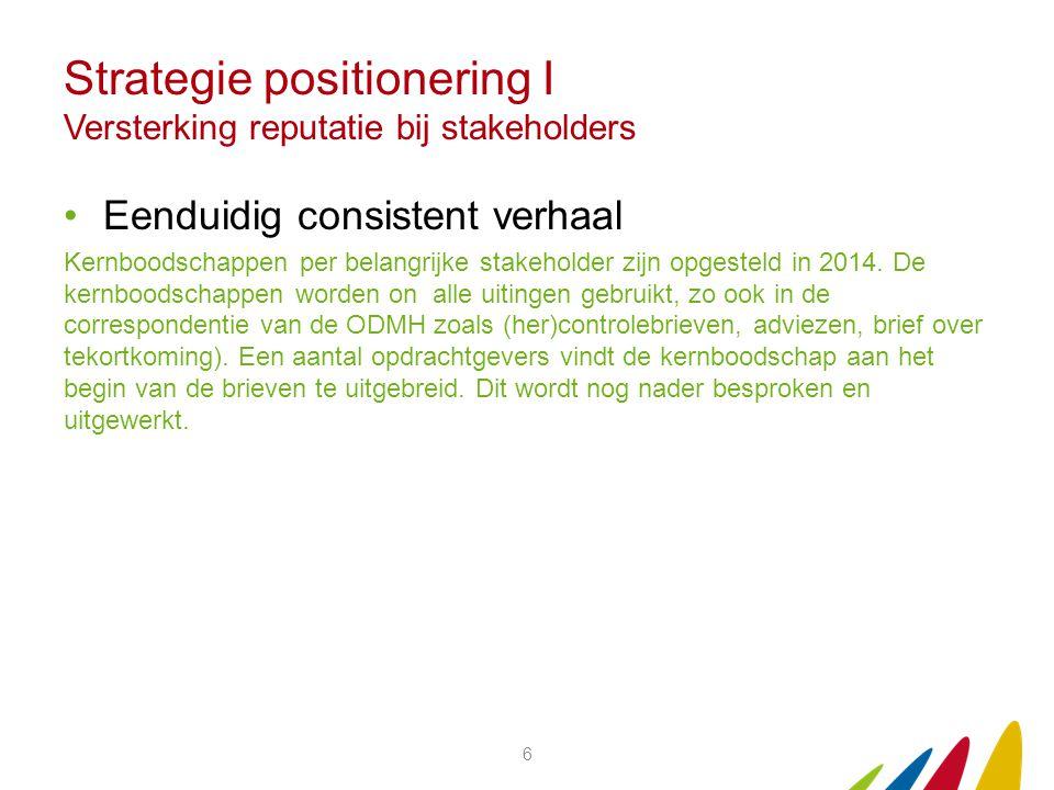 Strategie positionering I Versterking reputatie bij stakeholders Eenduidig consistent verhaal Kernboodschappen per belangrijke stakeholder zijn opgesteld in 2014.