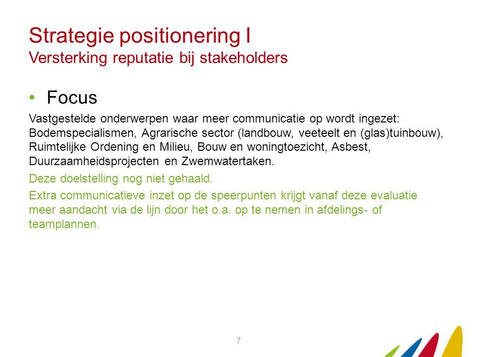 Strategie positionering I Versterking reputatie bij stakeholders Focus Vastgestelde onderwerpen waar meer communicatie op wordt ingezet: Bodemspeciali