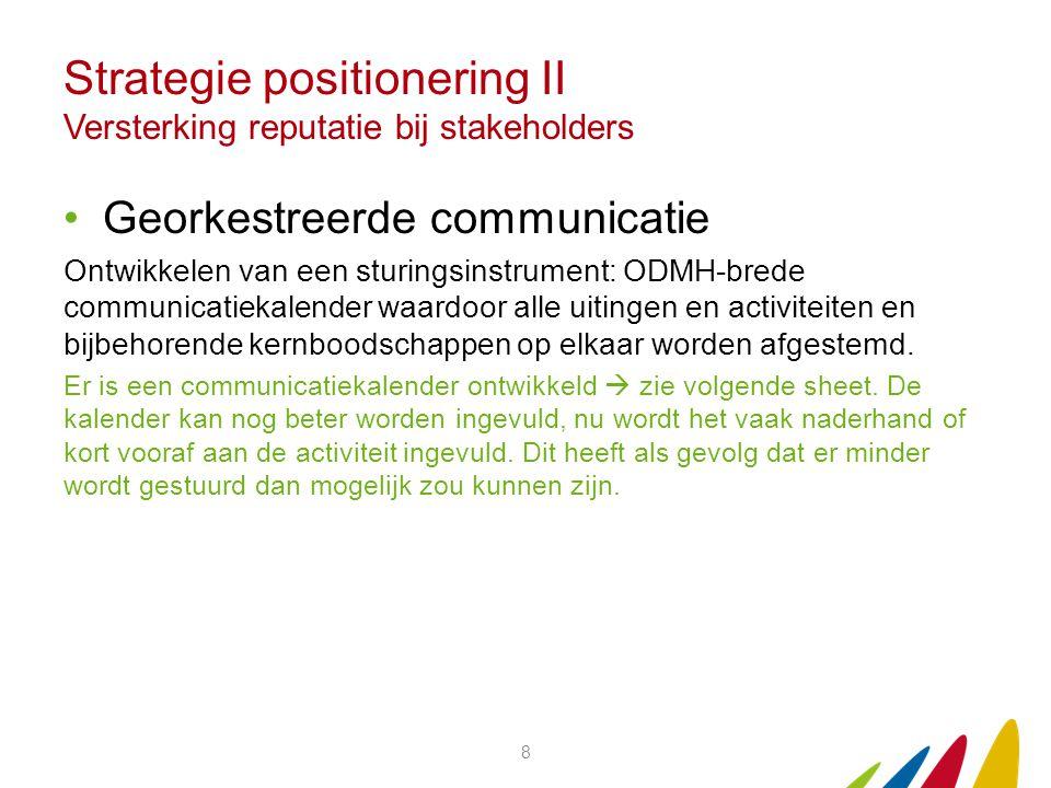 Strategie positionering II Versterking reputatie bij stakeholders Georkestreerde communicatie Ontwikkelen van een sturingsinstrument: ODMH-brede commu