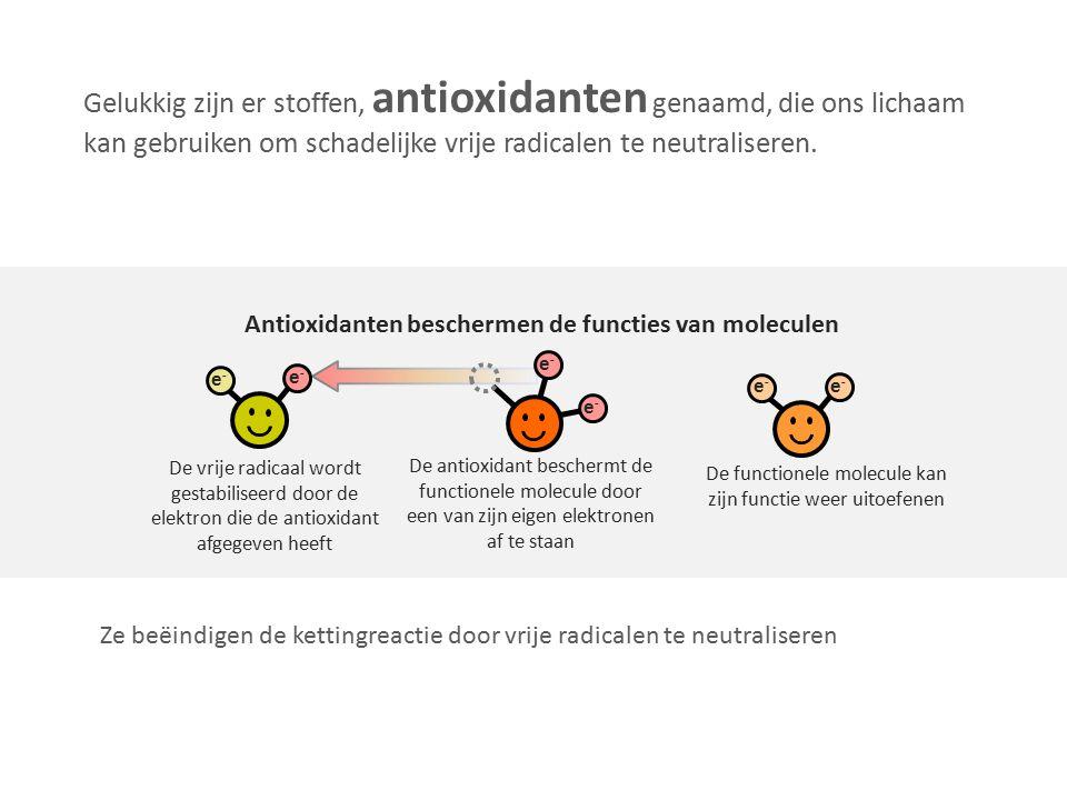 Gelukkig zijn er stoffen, antioxidanten genaamd, die ons lichaam kan gebruiken om schadelijke vrije radicalen te neutraliseren. Ze beëindigen de ketti