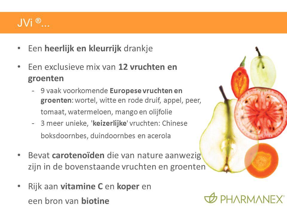Een heerlijk en kleurrijk drankje Een exclusieve mix van 12 vruchten en groenten - 9 vaak voorkomende Europese vruchten en groenten: wortel, witte en