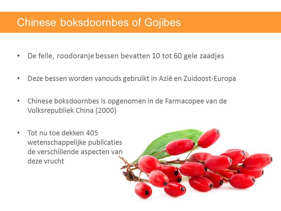Chinese boksdoornbes of Gojibes De felle, roodoranje bessen bevatten 10 tot 60 gele zaadjes Deze bessen worden vanouds gebruikt in Azië en Zuidoost-Eu