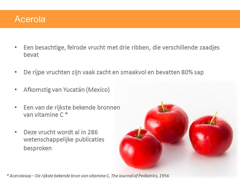 Acerola Een besachtige, felrode vrucht met drie ribben, die verschillende zaadjes bevat De rijpe vruchten zijn vaak zacht en smaakvol en bevatten 80%