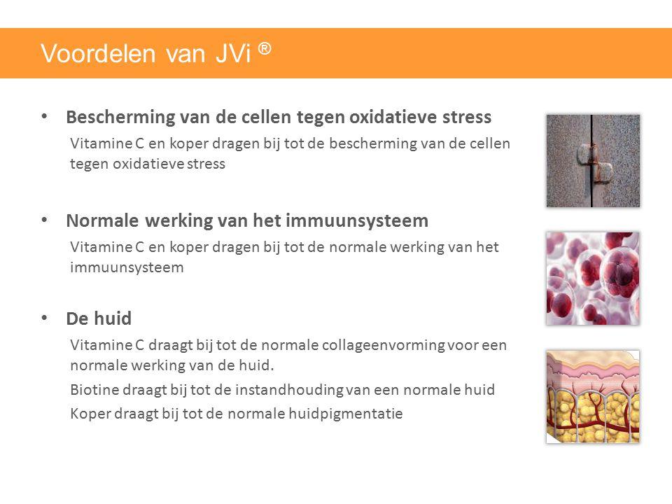 Voordelen van JVi ® Bescherming van de cellen tegen oxidatieve stress Vitamine C en koper dragen bij tot de bescherming van de cellen tegen oxidatieve