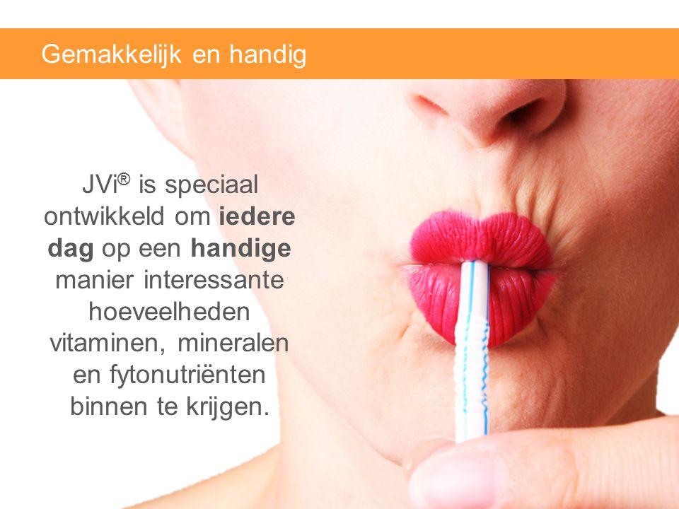 Gemakkelijk en handig JVi ® is speciaal ontwikkeld om iedere dag op een handige manier interessante hoeveelheden vitaminen, mineralen en fytonutriënte