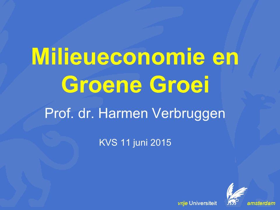 vrije Universiteit amsterdam Milieueconomie en Groene Groei Prof. dr. Harmen Verbruggen KVS 11 juni 2015