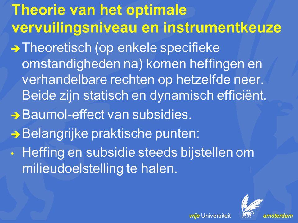 vrije Universiteit amsterdam Theorie van het optimale vervuilingsniveau en instrumentkeuze  Theoretisch (op enkele specifieke omstandigheden na) komen heffingen en verhandelbare rechten op hetzelfde neer.