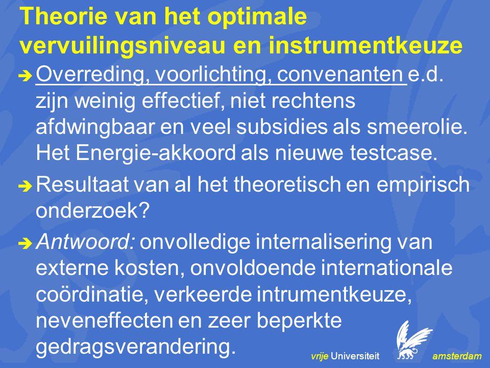 vrije Universiteit amsterdam Theorie van het optimale vervuilingsniveau en instrumentkeuze  Overreding, voorlichting, convenanten e.d. zijn weinig ef